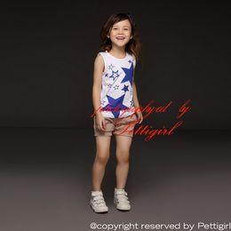 Pettigirl Retail 2016 New Summer Kids Clothing Set Sleeveless Girls Blue Stars T Shirt And Gray Pants Child Girls Costume CS30301-04