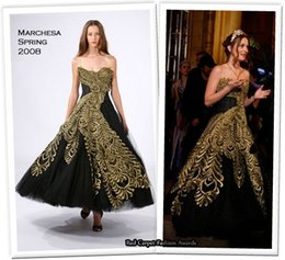 Wholesale Gossip Girl Fashion Amazing Shiny Blair Waldorf s Prom Dress Gold Embroidery Strapless Backless Ball Gown Dresses Party Evening Wear