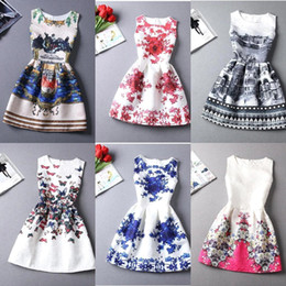 Wholesale 23 Style Choice Girls Best Sale Summer Dresses New Fashion European and American Style Floral Printing Vest Lady New Dress