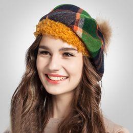 Wholesale-Autumn and winter large raccoon ball Scottish Plaid fashion beret painter cap ladies fashion hats