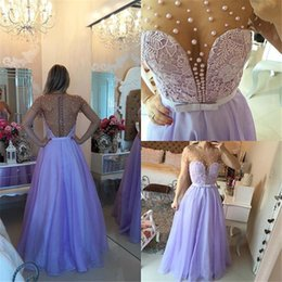 Wholesale Sexy Jasz Dresses - Lavander Purple Prom Gowns 2015 A Line Sheer Pearls Beads Plunging V Neck Short Sleeves Arabic Couture Jasz Formal Evening Party Dress