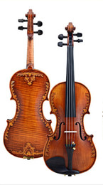 Wholesale 2015 New Arrival Tianyin Brand Carved Advanced Italian violin Sculpture Antique Spruce wood Violin Violino Musical instrument