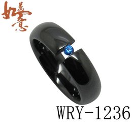 High-Tech Black Ceramic Rings Domed Shaped with CZ diamond inlay Fashion Bling Rings 6mm