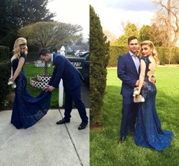 Dark Navy Blue Lace Evening Dresses Sexy Back Cocktail Gowns V Neck Capped Sleeve Robe De Soriee Long Prom Party Gowns