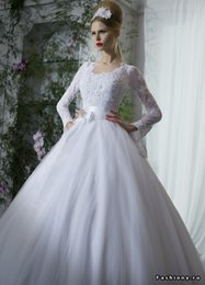 Wholesale Unique Design Ball Gown Square Long Sleeve Wedding Dresses Floor Length White Organza Queen Bridal Wedding Gowns Low Price