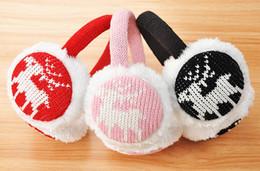 Wholesale Winter Knitted Plush Earmuffs for Women Lined Trim Acrylic Cartoon Folding Ear Muffs