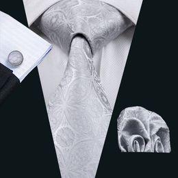 Gray Floral Mens Silk Tie Pocket Square Cufflinks Neck Tie Set Jacquard Woven Formal Work Meeting Leisure N-0628