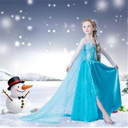 Wholesale 2015 Retailer Elsa Dress Crown Set Custom Movie Dress Girl Dress Frozen Princess Elsa Costume for Children Fashion Dress