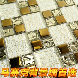 Wholesale Manufacturers special crystal glass mosaic mirror plating puzzle golden backdrop tiled bathrooms Restaurant Bar