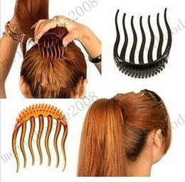 Wholesale BUMP IT UP Volume Inserts Hair Combs Clip Bumpits Ponytail Bouffant Hair Comb Hair Accessories Combs Coffee Black MYY10307A