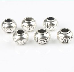 Wholesale Mix styles Tibetan Silver Rondelle Hope Peace Joy Friend Love Faith Big Hole Beads Fit European Bracelet Jewelry L1292