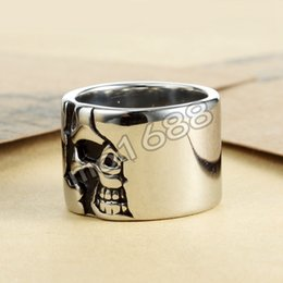 316L Stainless Steel Cool Siver Big Circle Skull Silver Ring