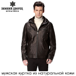 Wholesale Fall hat black motorcycle man coat Genuine Leather Sheepskin Mandarin Collar leather jacket Leather jacket men biker jacket