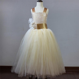 Wholesale Chiffon Lace Dress Tea Length - 2016 new girl dress vintage lace rustic champagne color spaghetti straps fluffy tulle ball gown flower girl dress for weddings evening party