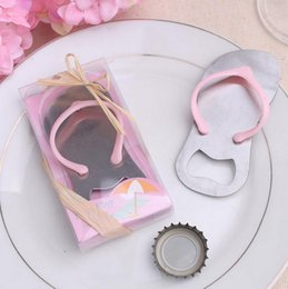 Wholesale NEW Cool Creative Wine Slipper Shaped Sandal Opener Flip flop Beer Bottle Cap For Guests Beach Wedding Favors And Gifts Fast shipping