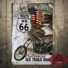 Wholesale TIN Plaque sign Route National old trails Road Metal Decor Wall Art Garage Shop Store man Cave