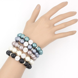 Free Shipping Pearl Jewelry, 12mm Crystal Ball Stretch Bracelet 12mm Pearl Bracelet for Women Gifts