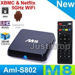 Wholesale M8N M8 K Smart Android IPTV OTT TV BOX GB RAM GB Quad Core Bluetooth Amlogic S802 KODI Fully Loaded Google Play Store Download free App