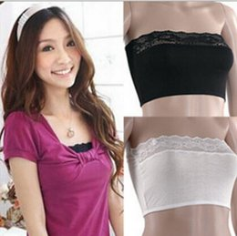 Wholesale Women Sexy Prevent Exposed Lace Wrapped Chest Lace Bra With Baldric Chest Pad For Females Weave Bras