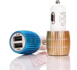 Wholesale Dual USB Car Charger Blue Light LED Car Charger Aluminium Alloy Metal Car Charger For Cell Phone Table PC DHL Free High Quality