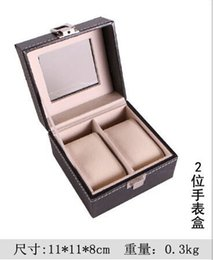 Wholesale 2 Grid Leather Watch Display Case Jewelry Collection Storage Organizer Box Holder