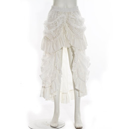 Wholesale Long Gothic Steampunk Skirt Ivory VTG Victorian Lace Bustle Corset