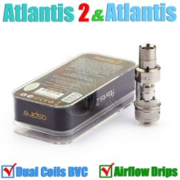 Wholesale Atlantis V2 upgraded Atomizer Atlantis BVC Sub ohm coil mm airflow drip tips clone Mega tank dual Coils clearomizer e cigs RDA