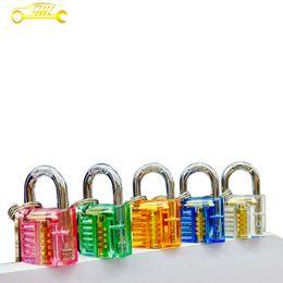 Wholesale 2016 New Arrival Mini Colored Transparent Crystal Practice Lock For Locksmith Essential Goods Padlock Luggage Locks Process Lock