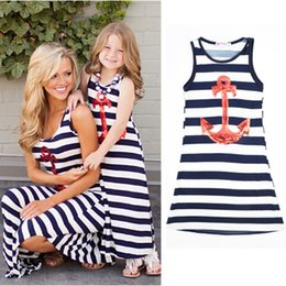 Wholesale 2016 Parent child Family Dress Blue and white stripes boat anchor dress Mother and daughter outfit vest dress C490