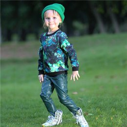 Pettigirl Wholesale Baby Girls Clothing Set Floral Child Outfits With Print Pattern Top And Leather Pants For Fall Kids Clothes CS80728-33F