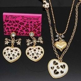 Wholesale BETSEY JOHNSON Glaze dot heart bow strand pendant necklace earrings