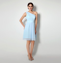 2015 Light Blue Bridemaid Dresses in Stock Real Picture 100% One Shoulder Knee Length Chiffon Short Maid of Honor Free Shipping