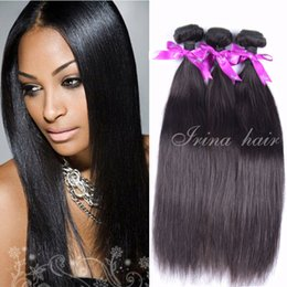 2017 natural hair wholesale india 7A brasileño de la Virgen del pelo recto 100% bruto Remy extensiones de cabello humano brasileño teje que teje el pelo liso pelo al por mayor barato natural hair wholesale india outlet