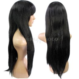 Wholesale Hot Girl Black Long Straight Synthetic Hair Bungs Full Wig Women Accessory wig plus girl talk