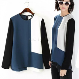 2015 New Casual Blouse Patchwork Pullover Long Sleeve Zipper Shirts Chiffon Blouse Color Blocking Colors Splicing SV16 CB034080