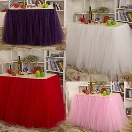 Wholesale 2015 Wedding Tutu Table Skirt cm cm Pink White Purple Red Tulle Tutu Table Skirts for Banquet and Party