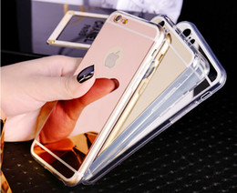 Wholesale Mirror case Electroplating Chrome Ultrathin Soft TPU Phone Case Cover For Samsung Galaxy S6 S7 iphone plus Plus