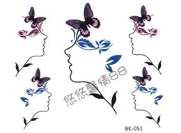 Wholesale Waterproof butterfly abstract beautiful woman the cartoon tattoo stickers male Women