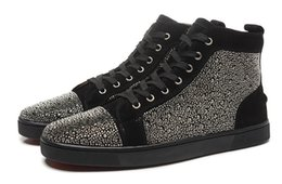 Wholesale New men women high quality black suede with rhinestone brand high top sneakers design lovers causal flats shoes