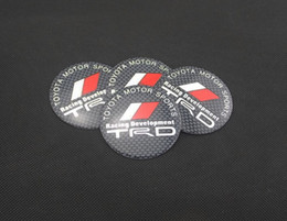 Wholesale 4pcs set mm Car Auto Tyre Wheel Center Cover Stickers HubCap Stickers Emblems Badge Decal Fit TOYOTA MOTOR SPORTS TRD