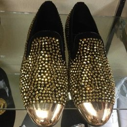 Shinny Men Gold Rhinestone Flat Metal Toe Crystal Loafers Male Formal Party Dress Shoes Wedding Shoes Size 39-46