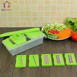 Cuadro de rallador de cocina en Línea-Muli-función Herramientas de Cocina Frutas Vegetales Slicer Rallador Scrapper Set cuchillo de cocina Cajas Alimentarios (MH-1054)
