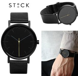 Wholesale 2016 New Hot Brands Simple STOCK Watch For Mens Women Fashion Casual Quartz Watch PU Leather Watches mm Relojes Montre S001