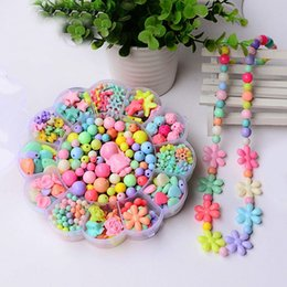 Wholesale Children handmade colored shapes Sunflower Acrylic bead Spacer Ball making jewelry diy beads stone rondelle mixed grid box