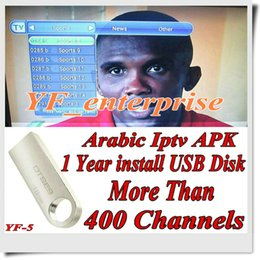Wholesale 128M USB arabic iptv apk Africa French Arabic Sports channels with years validity android tv box