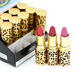 Wholesale-Lipstick Cosmetics Round Lipstick With Display Stand 12 Colors 1 color Fashion Leopard lip stick 8055#