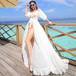New Beach Dress Bohemian Bikini Cover-Up Women's White Chiffon Maxi Dress Ruffles Split Long Casual Dresses Clubwear KYF0330