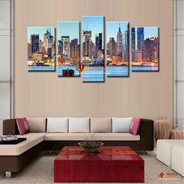 Promotion ville peintures à l'huile de paysage 5 Pieces Toile Peinture Idées Ville Nuit Art Photos Paysage New York Peinture à l'huile Sur Toile Modern Décoration Peintures
