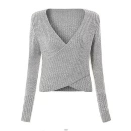 2017 autumn and winter Europe and the United States new style trend women's wear sexy v-neck crossover sweater