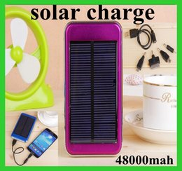 Wholesale Dual USB Charging Ports V A W Solar Panel Charger mAh Travel Power Pack Battery power bank for iPhone Samsung HTC ipad